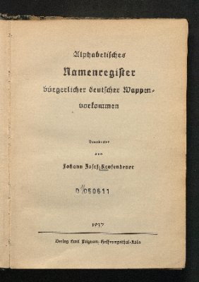 Alphabetisches Namenregister bürgerlicher deutscher Wappenvorkommen