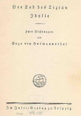 Der Tod des Tizian. Idylle