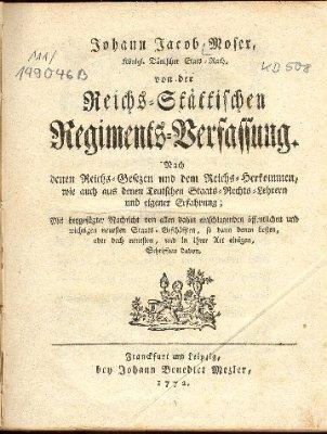 Von der Reichs-Stättischen Regiments-Verfassung