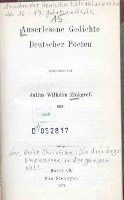 Auserlesene Gedichte deutscher Poeten