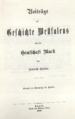 Beiträge zur Geschichte Westfalens und der Grafschaft Mark