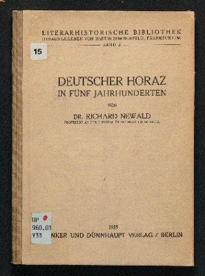 Deutscher Horaz in fünf Jahrhunderten