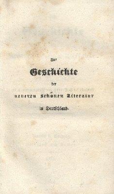 Zur Geschichte der neueren schönen Literatur in Deutschland
