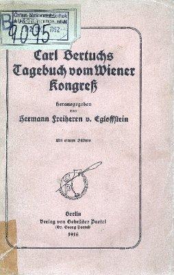 Carl Bertuchs Tagebuch vom Wiener Kongreß
