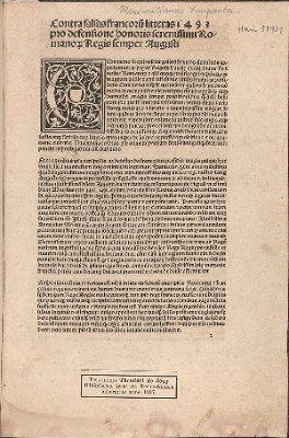 Contra falsas francoru[m] litteras pro defensione honoris serenissimi Romanor[um] Regis semper Augusti (Contra falsas Francorum litteras)