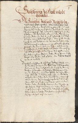 Hällische Chronik - eine Chronik von der Stadt Hall [i.e. Schwäbisch Hall] [Saltzbronn zu Hall wurdt|| gebauet ...]